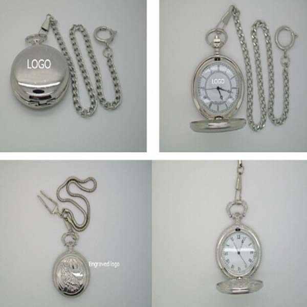 Reloj de bolsillo de la moda unisex de metal con una cadena